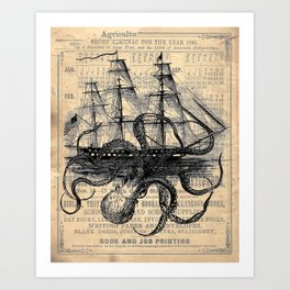 Octopus Kraken attacking Ship Antique Almanac Paper Art Print