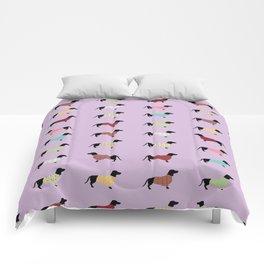 Dachshund - Purple Sweaters #251 Comforters