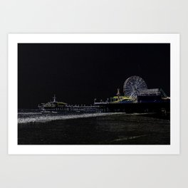Black Neon Santa Monica Pier Art Print