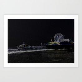 Pitch Black Neon Santa Monica Pier Art Print