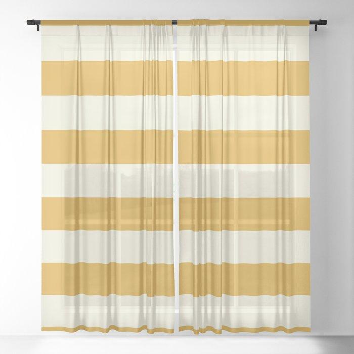 Yellow Stripes Bold Sheer Curtain