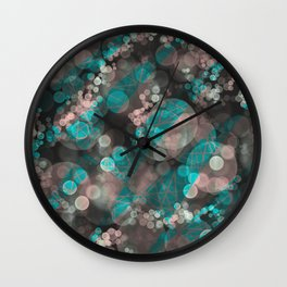 Bubblicious - Teal Pink & Taupe Palette Wall Clock