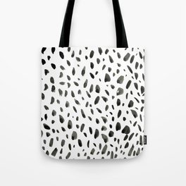 Black ink abstract random background. Hand-drawn spotted pattern on white abstract background Tote Bag