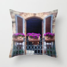 Pretty Italian Garden Window Throw Pillow