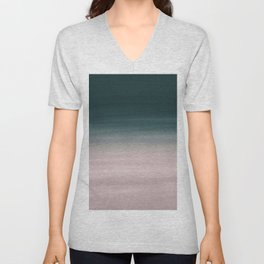 Touching Teal Blush Watercolor Abstract #1 #painting #decor #art #society6 Unisex V-Neck