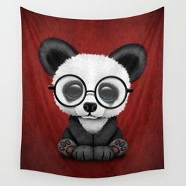 Cute Panda Bear Cub with Eye Glasses on Red Wall Tapestry