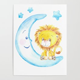 baby lion, blue moon with stars, baby boy room, baby shower gift, watercolor painting Poster