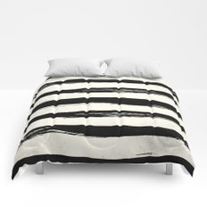 Tribal Paint Stripes Black and Cream Comforters