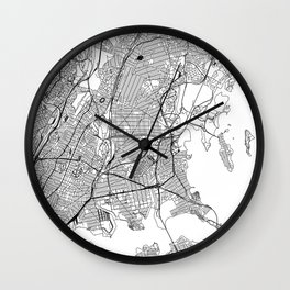 The Bronx White Map Wall Clock