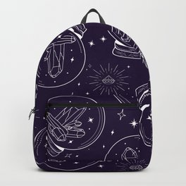 Glass Globe with Crystals in White on Midnight Blue Backpack