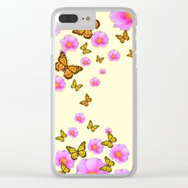 ABSTRACT PINK ROSES & MONARCH BUTTERFLIES Clear iPhone Case