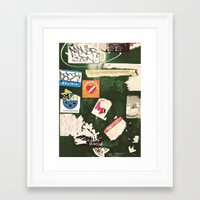 stickers Framed Art Prints featuring stickers by kazmcart