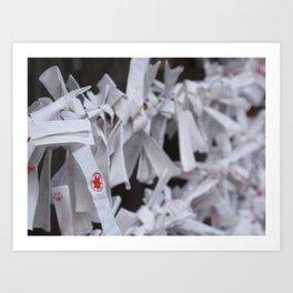 Omikuji fortunes tied to string at Atsuta Shrine in Aichi, Japan. Art Print