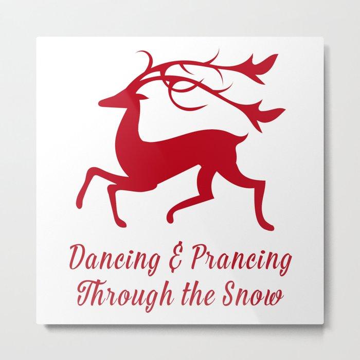 Prancing Christmas Deer Metal Print