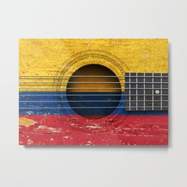 Old Vintage Acoustic Guitar with Colombian Flag Metal Print
