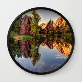 Red Rocks Reflections Roxborough Park and Arrowhead Golf Course Colorado  Wall Clock