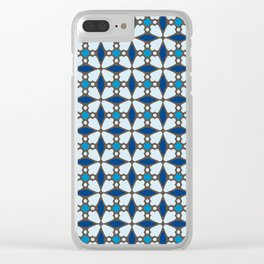 Blue Stained Glass Clear iPhone Case