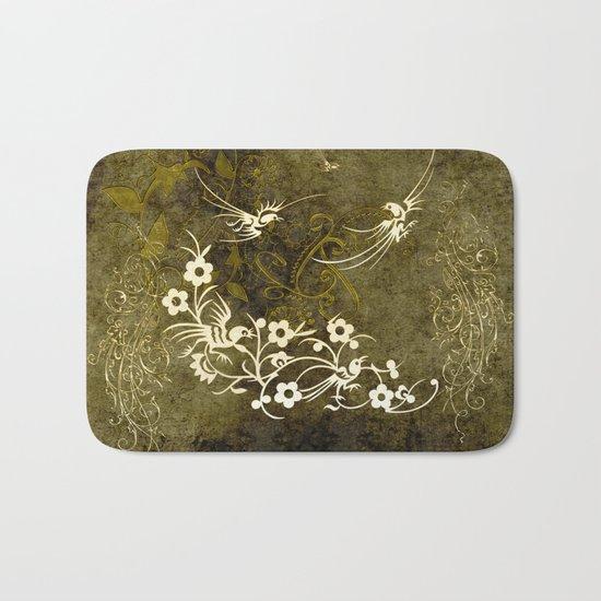 Fantasy birds with flowers Bath Mat