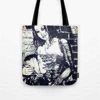 modern vampires of art history Tote Bags featuring Vampires by Streetlight by Michael Duggan