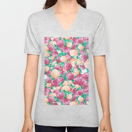 Artistic handdrawn pink brown watercolor roses floral Unisex V-Neck