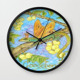 Fruits and Fantasy: Gooseberry/Lizard Wall Clock