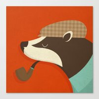 country Canvas Prints featuring Country Badger by Zara Picken