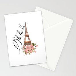 Oh La La Eiffel Tower France Stationery Cards