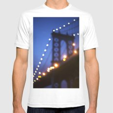 Manhattan Bridge at Night White Mens Fitted Tee MEDIUM