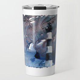 Bodie Island lighthouse watercolor painting Travel Mug