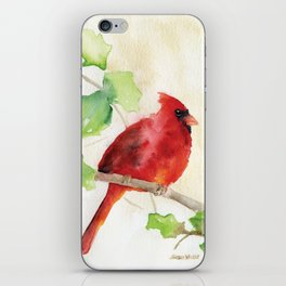 Cardinal and Holly Watercolor iPhone Skin