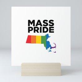 Massachusetts LGBTQ Pride (White) Mini Art Print