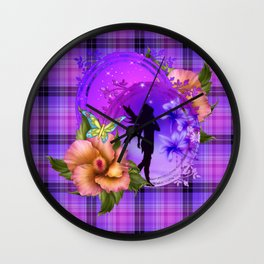 Enchanting Purple Faery Silhouette Wall Clock