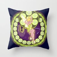 tinker bell Throw Pillows featuring Tinker Bell by NicoleGrahamART