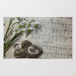 Snowdrops and Vintage Watches Rug
