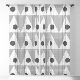 Vintage Vibes Large Geometric Pattern Grey Sheer Curtain