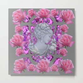 ABSTRACT PINK ROSES & CAMEO GIRL PURPLE-GREY Metal Print