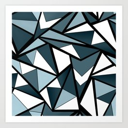 Geometric pattern in grey and white tones . Art Print