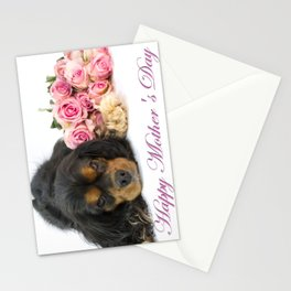 Happy Mother's Day Cavalie King Charles With Roses Stationery Cards