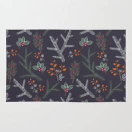 Seamless pattern with floral branches winter christmas hand drawn texture background Rug