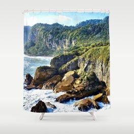 Coastal View in Punakaiki Shower Curtain
