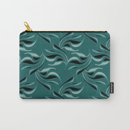 Black swirls on turquoise background. Carry-All Pouch