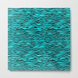 Black and Bright Neon Aqua Blue Tiger Stripes Animal Print Metal Print