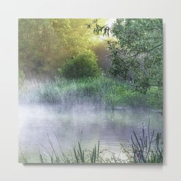 Landscape photograph of a foggy morning on a pond with light starting to break through. Metal Print
