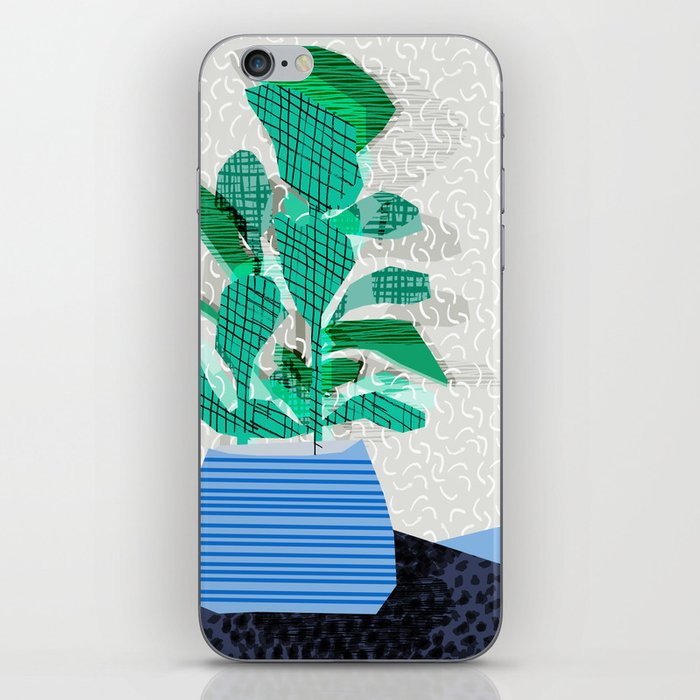 Ditz - house plant art neon pattern texture inky memphis style throwback 1980s 80s retro vintage  iPhone Skin