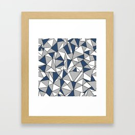 Abstraction Lines with Navy Blocks Framed Art Print