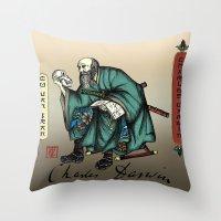 darwin Throw Pillows featuring Samurai Charles Darwin by QStar