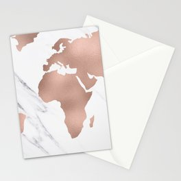 Marble World Map Rose Gold Pink Stationery Cards