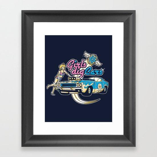 GIRLS DIG CARS Framed Art Print