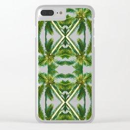 Palm Tree Kaleidoscope (on blue sky) #2 Clear iPhone Case