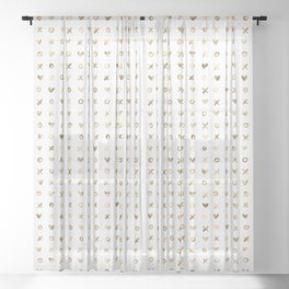 XOXO Love Me Gold Pattern 4 Sheer Curtain